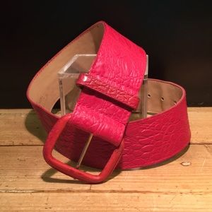 🌞5 for 25 EUC Genuine Leather Embossed Red Belt